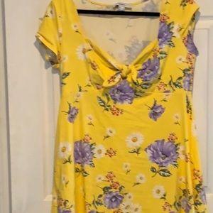F21 Bright yellow/purp floral tshirt mini dress 1X